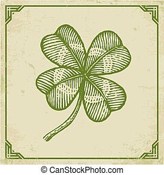 Green clover on old paper