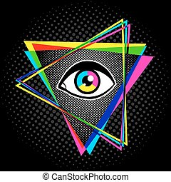 pyramid and eye - Vintage pyramid with eye in 90's style....