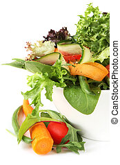 Healthy Salad - Healthy salad with mixed greens, carrots,...
