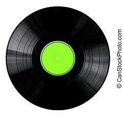 Vinyl Record with Green Label - Vinyl 33rpm record with...