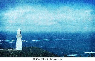 Grunged Seascape with Lighthouse - Grunged seascape with old...