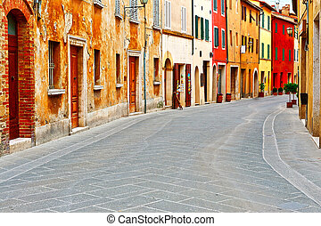 Historical Center with Old Buildings in Italian Medieval...
