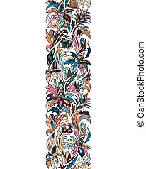 Vector doodle flowers seamless border. Zentangle style decorative element.
