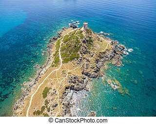 Aerial view of Sanguinaires bloodthirsty Islands in Corsica,...