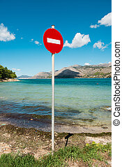 No entry sign near sea. Argostoli beach