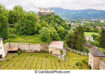 Panoramic view over stadt salzburg with ancient castle and...