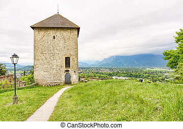 Panoramic view over stadt salzburg with ancient tower, rainy...