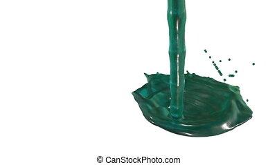Flow of blue liquid like juice splattering on white...