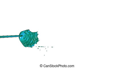 Flow of blue liquid like juice splattering on white background and dripping down over white. 3d render with alpha mask for background, transition or overlays. Version 2
