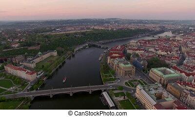 Aerial view along Vltava river in the summer. Prague, Czech...