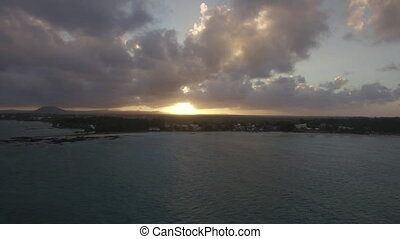 Aerial view of sunset on Mauritius Island - Flying over...