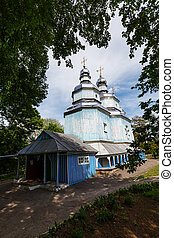 Church in Ukraine - old whitewashed church in Ukraine,...