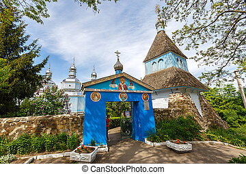 Church in Ukraine - old whitewashed church in Ukraine. June...
