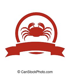 red circular border with crab and label