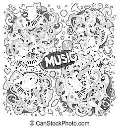 Sketchy vector doodles cartoon set of Music designs