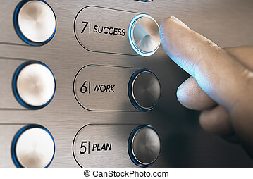 Elevator to Success Concept - Man pushing an elevator button...