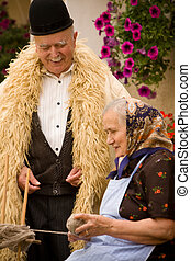 Old couple portrait - Portrait of a very old couple at...