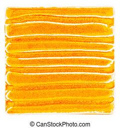 Handmade glazed ceramic tile - Orange lined handmade glazed...