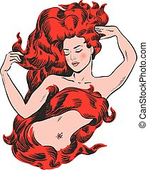 Woman with red hair on fire vector illustration stock