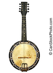 Vintage Banjo - Old banjo mandolin, well isolated on white....