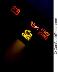 Dash Lights - Dash lights of a Korean sports car. Focus on...