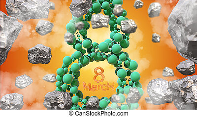 8 March symbol. Figure of eight made of green spheres flying in the space with asteroids. Can be used as a decorative greeting grungy or postcard for international Woman's Day. 3d illustration