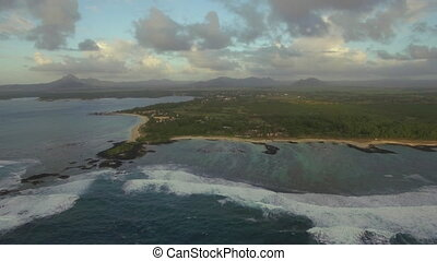 Flying over Mauritius Island and shoal waters - Scenic...