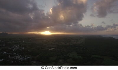 Sunset on Mauritius Island. Aerial view - Aerial shot of...