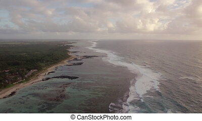 Aerial view of Mauritius coastal line and Indian Ocean -...