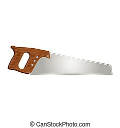 realistic silhouette color of handsaw tool vector...