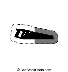 sticker black silhouette with handsaw tool vector...