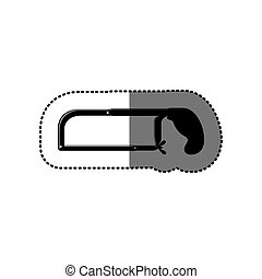 sticker black silhouette with hacksaw tool vector...