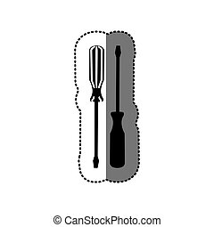 sticker black silhouette with pair of screwdrivers