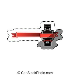 sticker colorful heraldic border with red long ribbon decorative