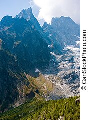 Mont Blanc Massif Glacier Vertical Photo. Summer Alpine...