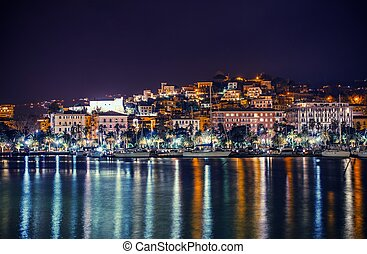 Night in the La Spezia Marina. City of La Spezia Panorama....