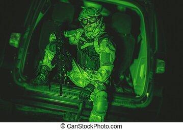 Soldier in Van Night Vision