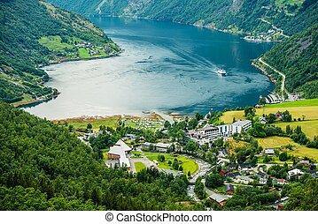 Geiranger Panorama Norway - Geiranger Summer Time Panorama,...