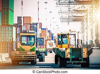 Shipping Cargo Hub - Forklift Tractors in Shipping Cargo...