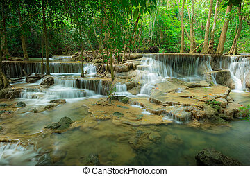 Huay Mae Kamin waterfall National Park - Waterfall in the...