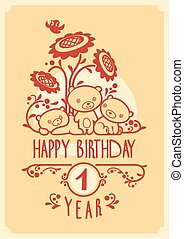 Vector Happy Birthday greeting card with three cute teddy bears. Invitation design.
