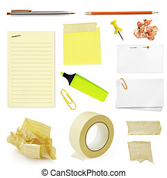 Stationery - Collection of office stationery, isolated on...