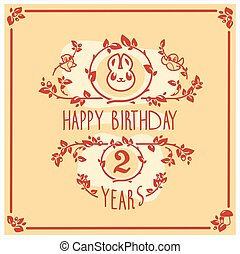 Vector Happy Birthday greeting card with cute rabbit. Invitation design.