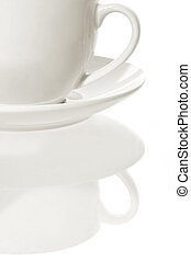 High Key Coffee Cup - Classic white coffee cup and saucer,...