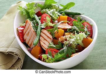 galinha, salada