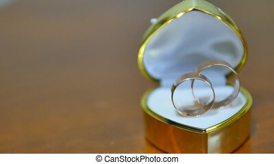 Wedding rings in the box.