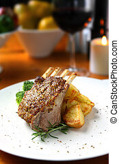 Lamb Dinner - Candlelit lamb dinner. Rack of lamb with...
