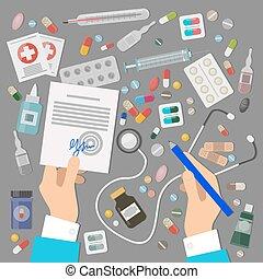 Pharmaceutics Banner Set. Medical Prescription. -...