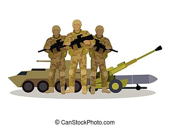 Modern Armed Forces Types Flat Vector Concept - Different...