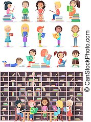 Boys, Girls with Books. Isolated Children, Infants